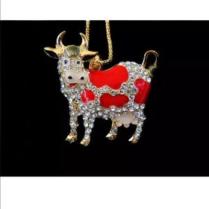 Crystal Red Cow Necklace